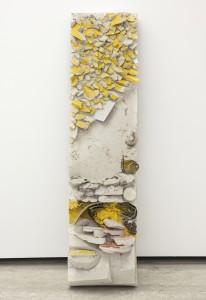 Allyson Vieira Clad (Multi Story) VIII, 2014 Metal stud, drywall, screws, plaster, Multi Story scraps, Clad (Multi Story) VII, scraps, studio sweepings, 164 x 41 x 26 cm