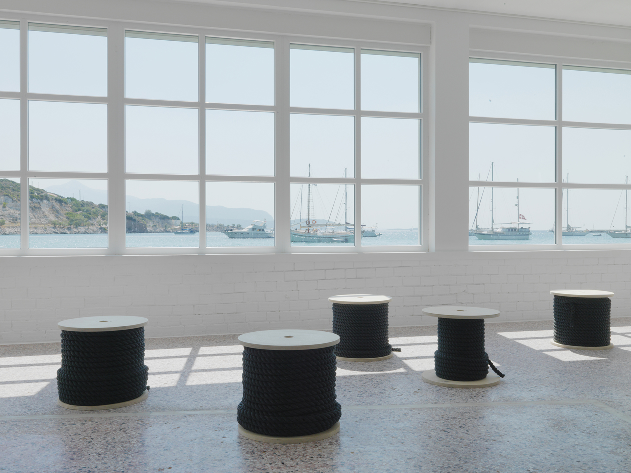 Beeline, 2014, installation view, 1430-m fishing rope, 15 wooden coils, photo by Stathis Mamalakis (8)