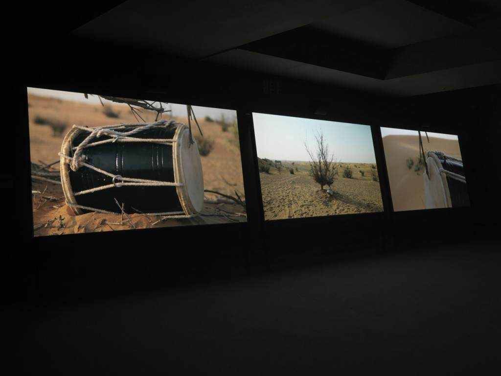 Session, 2013, 3-channel video installation, HD video loop, 6 min, Courtesy of the artist, Wentrup Gallery, Rampa Gallery,  photo by Stathis Mamalakis