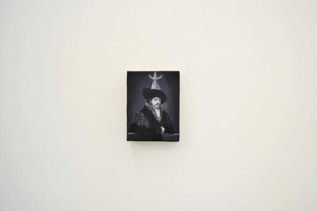 melchisedec, 2014 olio su tela+griglia di ferro 24 x 18